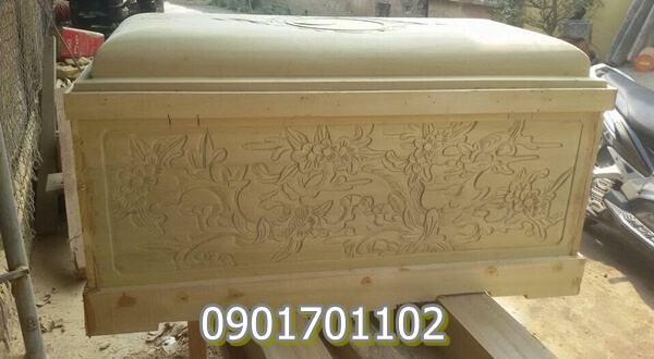 Quách gỗ vàng tâm chạm khắc tinh xảo-6